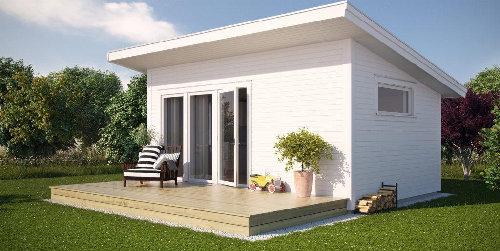 Nåt sånt här vore perfekt - plats för både ett sovrum, förvaring av grill och utemöbler och plats att sitta på ute!